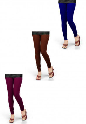 Combo of Solid Color Lycra Leggings in Multicolor