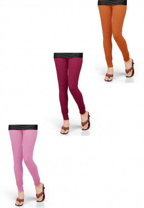 Combo of Solid Color Lycra Leggings in Orange and Pink