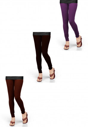 Combo of Solid Color Lycra Leggings in Purple and Brown