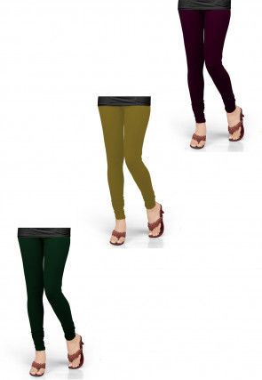 Combo of Solid Color Lycra Leggings in Purple and Green