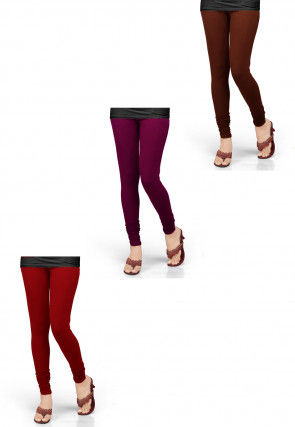 Combo of Solid Color Lycra Leggings in Red and Pink