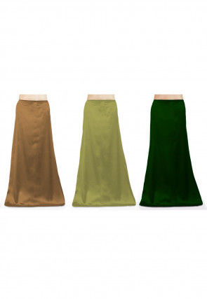 Combo of Solid Color Satin Petticoats in Beige and Green