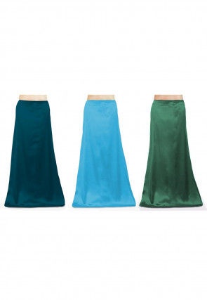 Combo of Solid Color Satin Petticoats in Blue and Green