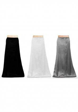 Combo of Solid Color Satin Petticoats in Multicolor