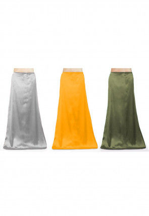 Combo of Solid Color Satin Petticoats in Multicolor