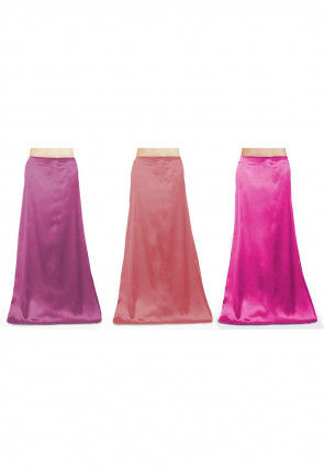 Combo of Solid Color Satin Petticoats in Pink