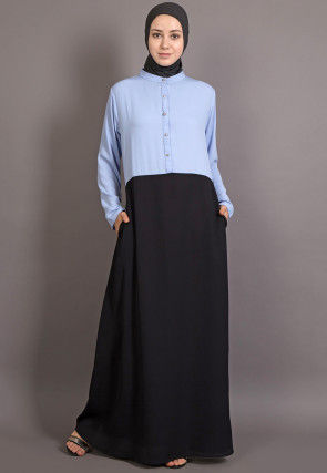 Contast Bodice Nida Abaya in Sky Blue and Black