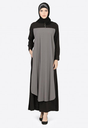 Contract Sleeves Crepe Abaya in Black and Grey
