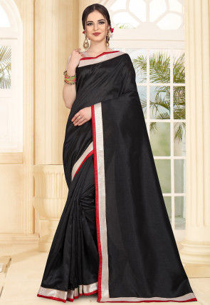 Contrast Border Art Silk Saree in Black
