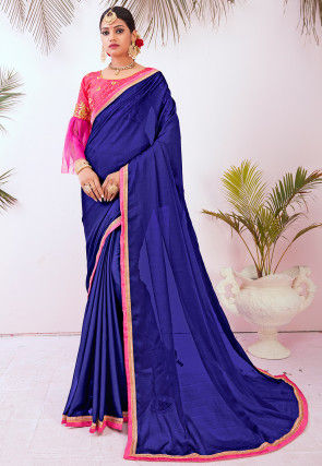 Contrast Border Art Silk Saree in Blue