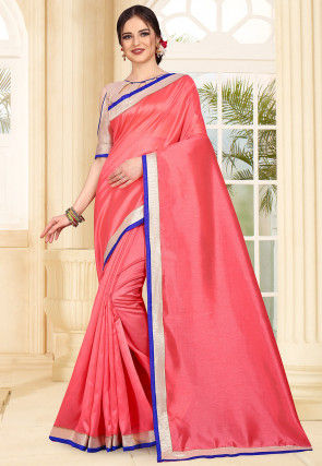 Contrast Border Art Silk Saree in Coral Pink