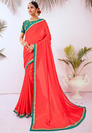 Contrast Border Art Silk Saree in Coral Red