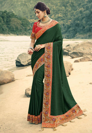 Contrast Border Art Silk Saree in Dark Green