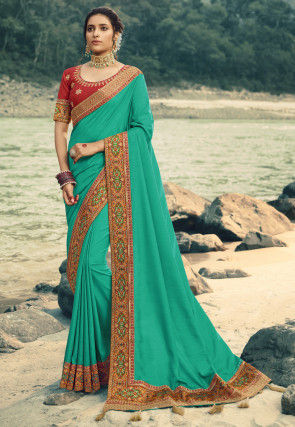 Contrast Border Art Silk Saree in Light Teal Green
