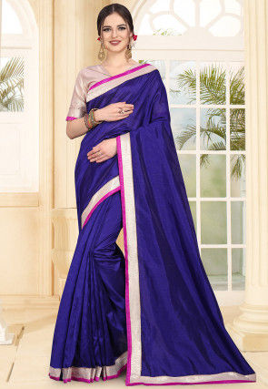 Contrast Border Art Silk Saree in Navy Blue