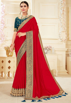 Contrast Border Art Silk Saree in Red