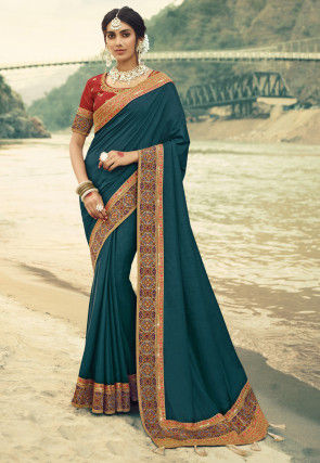 Contrast Border Art Silk Saree in Teal Blue