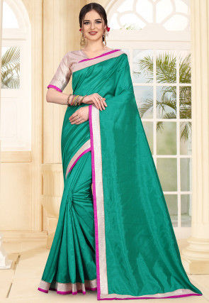 Contrast Border Art Silk Saree in Teal Green