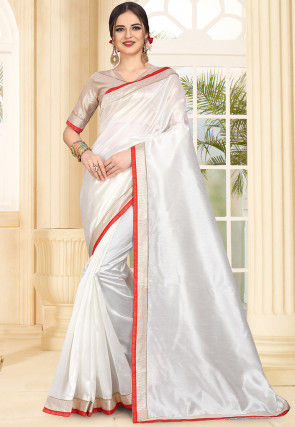 Contrast Border Art Silk Saree in White