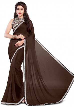 Contrast Border Chiffon Saree in Dark Brown