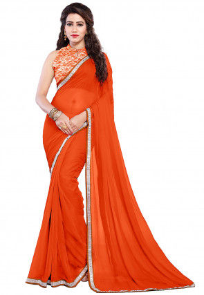Contrast Border Chiffon Saree in Orange