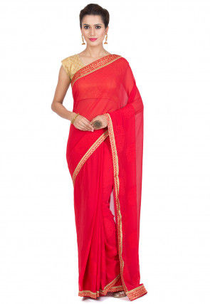 Contrast Border Chiffon Saree in Red