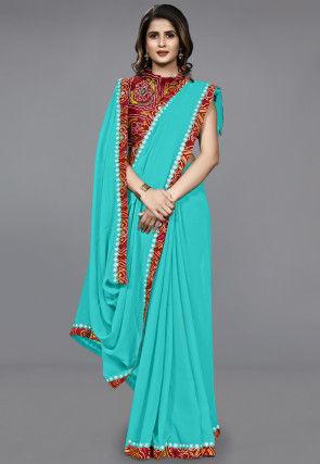 Contrast Border Chiffon Saree in Turquoise