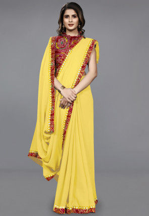 Contrast Border Chiffon Saree in Yellow