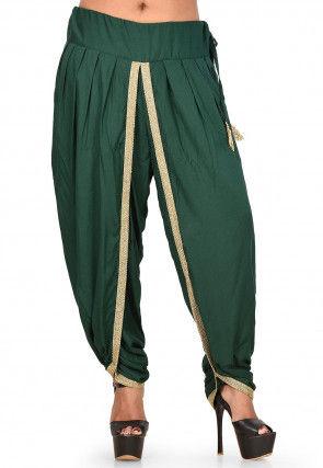 Contrast Border Cotton Dhoti Salwar in Dark Green