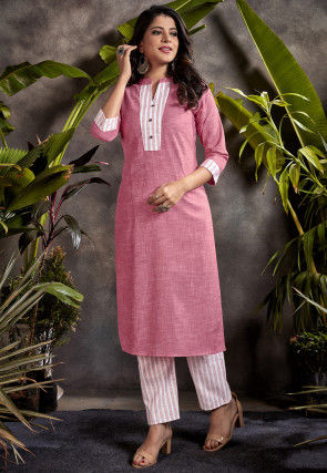 Contrast Border Cotton Kurta with Pant in Pink