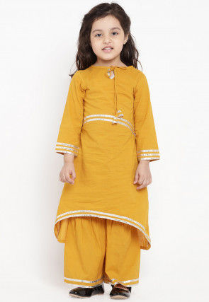 Contrast Border Cotton Rayon Asymmetric Kurta Set in Mustard