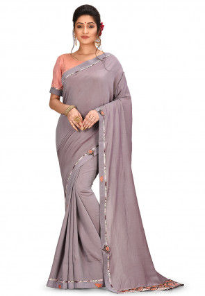 Contrast Border Cotton Silk Saree in Grey