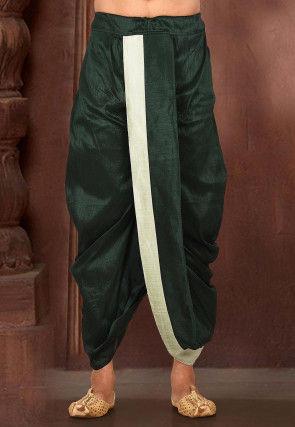 Contrast Border Dupion Silk Dhoti in Dark Green