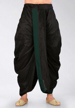 Contrast Border Dupion Silk Dhoti Pant in Black