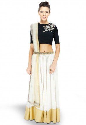 Contrast Border Georgette Lehenga in Off White