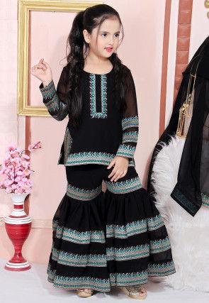 Contrast Border Georgette Pakistani Suit in Black