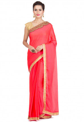 Contrast Border Georgette Saree in Coral Pink