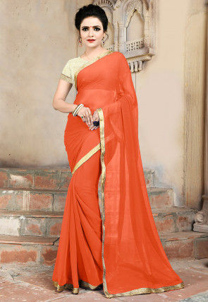 3d4e43484a642a Georgette Plain Sarees: Buy Latest Designs Online | Utsav Fashion