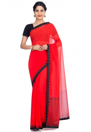 Contrast Border Georgette Saree in Red