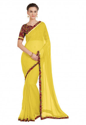 Contrast Border Georgette Saree in Yellow