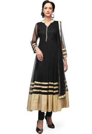 Contrast Border Net Anarkali Suit in Black