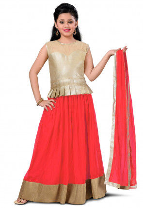 Contrast Border Net Lehenga in Coral Red