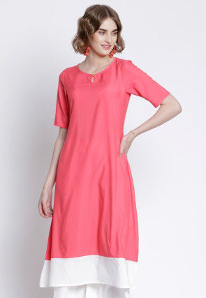 Contrast Border Polyester A Line Kurta in Pink