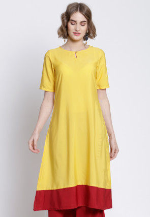 Contrast Border Polyester A Line Kurta in Yellow