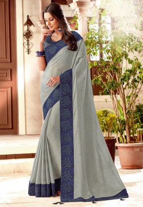 Contrast Border Satin Georgette Saree in Grey