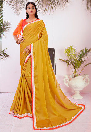 Contrast Border Satin Georgette Saree in Olive Green