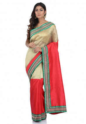 Contrast Border Tissue Saree in Beige and Red