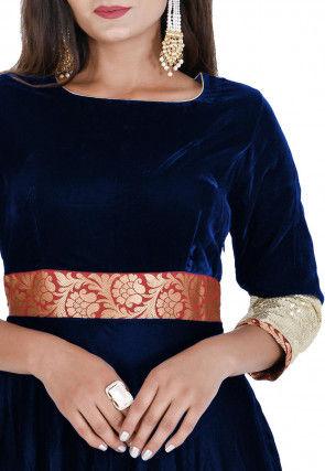 Contrast Border Velvet Flared Gown Set in Navy Blue