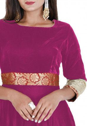Contrast Border Velvet Flared Gown Set in Pink