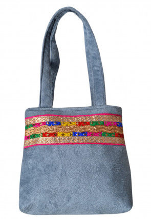 Contrast Border Velvet Hand Bag in Grey